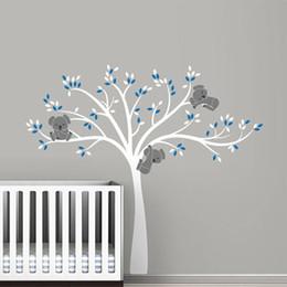 grandi decalcomanie per pareti Sconti Grandi decalcomanie della parete dell'albero di Koala di grandi dimensioni per la decorazione della stanza degli autoadesivi del vinile del vinile della scuola materna del bambino trasporto libero