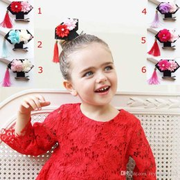 Wholesale Vintage Style Barrettes - 2017 New Creative China Vintage Prince GEGE style big tassel flower Girls Hair Clips Kids Hairpins Barrettes Children Hair Accessories