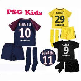 Wholesale Paris Kids - 2017 18 Neymar jr soccer jerseys paris kids blue BLACK jersey socks LASS Di Maria MBAPPE Cavani Dani Alves Football jerseys MAILLOT DE FOOT
