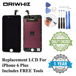 """Wholesale Touch Screen Glass Repair - 1PCS Ship For iPhone 6 Plus Lcd Screen 5.5"""" Black White Display with Touch Screen Glass Free Tools Repair Kit for Replacement"""