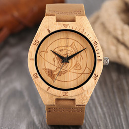 Wholesale Shark Watched - Top Wood Watches Men's Hand-crafted Brown Creative Shark Pattern Scaled Sports Quartz Watch Genuine Leather Pin Buckle Male Unique Gift