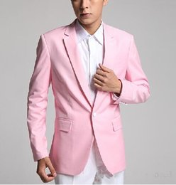 il miglior uomo si adatta alla cravatta rosa Sconti Nuovo smoking dello sposo di arrivo One Button Pink Notch Risvolto Groomsmen Best Man Suit Mens Abiti da sposa (Jacket + Pants + Tie) 442