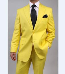 taste cool Rabatt 2018 Gelb Zwei Taste (Jacke + Hose) Neuesten Mantel Hose Smoking Kostüm Gemacht Mode Männer Anzug Gut Aussehend Kühlen Heißer Verkauf Terno Masculino