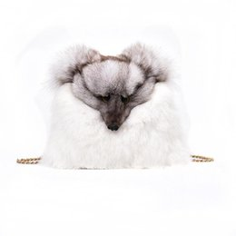 Wholesale Fox Fur Purse - Designer Handbags Women Autumn Winter Female Bags Rabbit Fashion Shoulder Bag Crossbody Bags Casual Plush Fox Decoration Handbag Purses