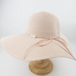 Cappelli di paglia di paglia delle signore online-EPU-MH1868 New Female ladies Cappello di paglia Floppy Sun Summer Beach Protezione UV a tesa larga Cappellini di alta qualità Cappello pieghevole da donna