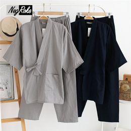 00ba6c7bd8 Plus Size XL Japanese pajamas Sets mens pijamas male 100% cotton loose Robes  set for men boxer robe kimono hombre algodon