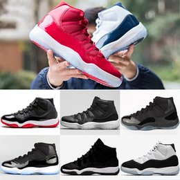 Wholesale Womens Basketball Shoes Size 11 - 2018 Mens 11 11s Basketball Shoes UNC Blue Gym Red Heiress Black Space Jam Bred Concord Navy Barons Womens Sports Sneakers Size 36-47