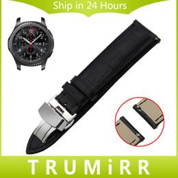 Banda de reloj de cuero genuino de 22 mm de liberación rápida para Samsung Gear S3 Classic Frontier Garmin Fenix Chronos correa de hebilla de mariposa desde fabricantes