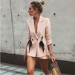 Argentina Traje de chaqueta de traje rosa 2018 nuevo Traje de moda sexy Chaqueta de traje de cuello cruzado breasted rosa Máquina de corazón de niña rosa Suministro