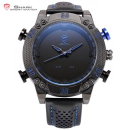 Wholesale Shark Sport Watch Black - Kitefin Shark Sport Watch Black Blue Stainless Steel Case LED Analog Quartz Auto Date Day Leather Strap Mens Army Watches  SH232