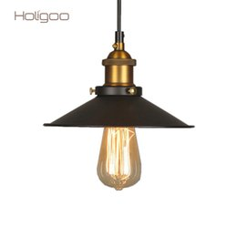 industrial bulbs Coupons - Holigoo Vintage Industrial Lighting Copper Lamp Holder Pendant Light American Lampshape Aisle Lights Lamp Edison Bulb 110V-220V