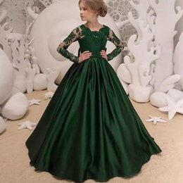 c54555494e 2018 lujosas chicas de satén verde vestidos de desfile mangas largas  personalizadas joya de encaje vestidos de niñas para la boda túnicas de  demoiselle d  ...