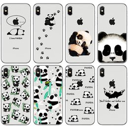 Wholesale bamboo gel - TPU clear Phone Case For Apple iPhone 5 5S SE 6 6S 7 8 Plus X cute panda bamboo leaves Soft silicone gel Back cases Cover+protector