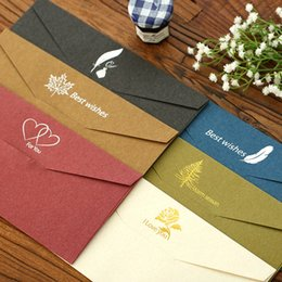 Wholesale envelope window - 20 pcs set Size 11x22cm Vintage Bronzing Best wishes business window kraft paper wedding invitation envelopes sobres 6 colors