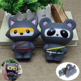 Wholesale cartoon cake for kids - New Animal Jumbo 14CM Kawaii Ninja Squishy Panda Bear Fox Bread Soft Slow Rising Fun Kid Toys Sweet Charm Cartoon Cake