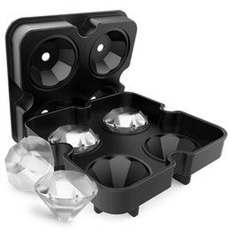 Diamant-eiswürfel-schale silikon online-4 Hohlraum Diamant Form 3D Eiswürfelform Maker Bar Party Silikon Schalen Schokoladenform Küche Werkzeug, ein großes Geschenk