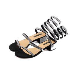 d822b95eafe87 Summer Shoes Woman Rhinestone Crystal Gladiator High Heels Sandals Women  Open Toe Ankle Strappy Womens Silver Black Block Heel Sandals 2018
