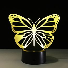 Wholesale Butterfly Remotes - Butterfly LED Bedroom Night Light Acrylic 3D Lamp 7 Colors Changing Remote Touch Switch Sitting Room Lights Sleep Light