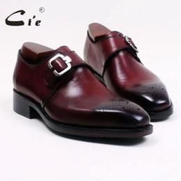 Обувь глубокий онлайн-cie квадратный носок вырезы ручная роспись глубокое вино один монах ремни 100% натуральная телячья кожа Нижняя дышащая Мужская обувь MS99