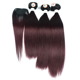 red hair color hairstyles Promo Codes - 1B 99J Ombre Human Hair Weave 3 Bundles with Top Lace Closure New Hairstyle Straight Dark Red Brazilian Ombre Hair Extension 4Pcs Lot