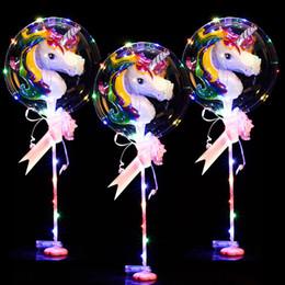 """Decorações claras do casamento da bola on-line-18 """"unicórnio luminoso led balão com base coluna clara rodada bolha decoração de casamento festa de aniversário suprimentos"""