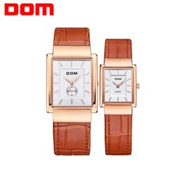 Wholesale Dom Watches - Couple Watches DOM leather gold lover watch business waterproof style quartz watches for Lovers M-289+G-1089
