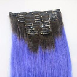Barato dos tonos Ombre Clip en Indian Remy Extensiones de cabello humano 7pcs 110g T1b Clip recto azul Ins desde fabricantes