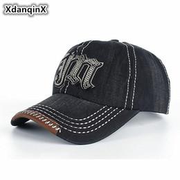 d829929782b XdanqinX Men s Hats 100% Cotton Baseball Caps Simple Retro Denim Letter  Visor Cap For Men Snapback Adjustable Size Dad s Hat