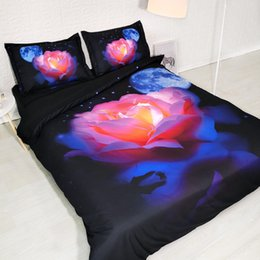 Royal Linen Source Brand 3 piezas por juego Pink moon rose 3d juego de cama de lujo 3d Ropa de cama de cama desde fabricantes