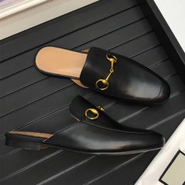 Wholesale Moccasin Slippers For Men - 2018 new selling luxury goods for men and fur fashion lazy bum rubber leather men's casual slippers size 38~45