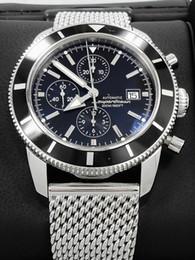 Relojes superocean online-Top Quality Brand New SuperOcean Heritage 46mm chrono A1332024 Reloj de cuarzo para hombre Pulsera de acero inoxidable Negro Relojes de pulsera para hombres