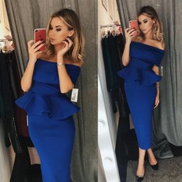 tea length vintage style dresses Coupons - Chic Royal Blue Sheath Cocktail Dresses Peplum 2019 Off Shoulder Tea Length Short Party Wear Gowns Arabic Style