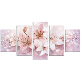 Wholesale contemporary floral wall paintings - 5 Pieces Lily Flower Wall Art Painting Starlight Background Picture Fashion Contemporary Wall Art For Home Decor with Wooden Framed