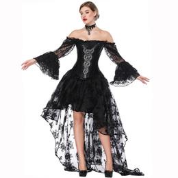 2019 trajes victorianos vintage de las mujeres Victorian Black Satin Corset Dress Mujeres Sexy Bustiers Steampunk Ropa Faldas Largas Costume Vintage Corset Set rebajas trajes victorianos vintage de las mujeres