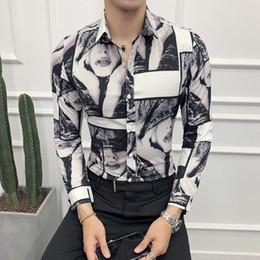 Argentina Moda 2018 otoño nuevo esmoquin de manga larga Slim Fit camisa de impresión digital hombres Casual solo pecho negocio camisa de baile hombre 3XL-M Suministro