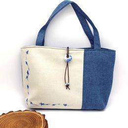 синий цветочный сумка Скидка Китайский стиль синий и белый фарфор печатных женщин сумки холст белье цветочные лоскутное мода сумка