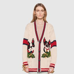 Wholesale Cashmere Dog - G Fight Color Dog Embroidery Sweater Coat V-Neck Twist Coat Knit Cardigan Fashion Women Outerwear High Street Top Quality Coat HFYTKS001