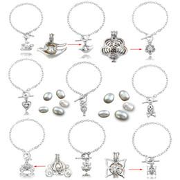 2019 braccialetti eleganti per le donne Braccialetti di perle Oyster Charm Braccialetto di perle d'argento Ciondolo di oli essenziali Bracciale con medaglione diffusore Gioielli da donna eleganti braccialetti eleganti per le donne economici