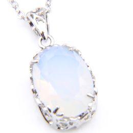 Pingente de gemstone opala on-line-6 pçs / lote mulheres pingentes clássico oval antigo natural branco opala gemstone 925 presente de natal de prata pingente de jóias + cadeia