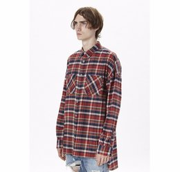 Wholesale Flannel Shirt Dresses - US Hip Hop Shirts Most Popular Justin Bieber Fear of God Fog Men Unisex Flannel Long-Sleeved Plaid Oversized Dress Shirt in Red