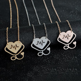Wholesale Medicine Jewelry - 4 styles Rose Gold Gold Silver Stethoscope Lariat Heart Pendant Necklace Newest Nurse Medical Nursing Jewelry Medicine Graduation Gift