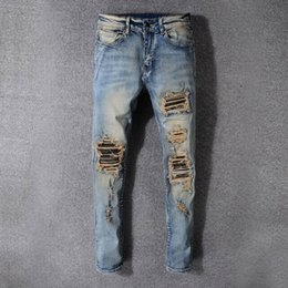 Wholesale jeans water - SS18 HOT New Arrive Skinny Water wash Motorcycle Jeans Desinger AM527-AM527-1 in single cow thickened Slim paris quality plugs Men jeans