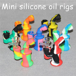 Wholesale Silicon Bowls - Hot sale food grade mini silicone bong Silicon dab rig with glass bowl ,non-stick silicone bongs silicone nectar collector free DHL