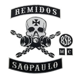 punk back patches Coupons - HOT SALE REMIDOS SAO PAULO SKULL MOTORCYCLE CLUB VEST OUTLAW BIKER MC JACKET PUNK LARGE BACK PATCH COOLEST IRON ON WEST PATCH FREE SHIPPING