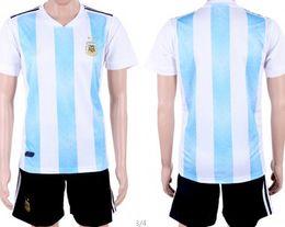 Wholesale football angels - Custom Soccer jersey kits 2018 world cup Argentina home blue white Angel Di Maria Paulo Dybala football shirt short uniform sets high qual