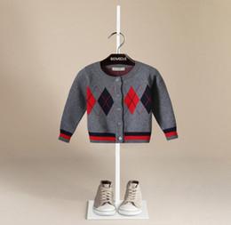 b2819883a2453 blousons garçons préppy Promotion Preppy style boys plaid cardigan designer  enfants col rond rayure manches longues
