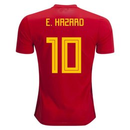 Wholesale Thailand Jersey Wholesalers - Belgium 2018 World Cup Home red top Thailand Quality E.HAZARD KOMPANY DE BRUYNE Soccer Jersey 18 19 Belgium football shirt Men's T-Shirts