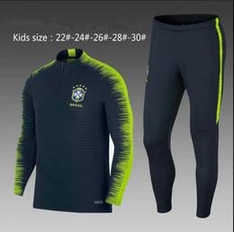 Wholesale children training suit - 2018 KIDS Brazil tracksuit training suits Uniforms Chandal 18 19 brasil child football tracksuit Survetement long sleeve training suit best