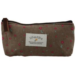 Wholesale pencil case fabric floral - Floral Fabric Pen pencil case cosmetic bag makeup students Stocking Filler Gift -Kaffee
