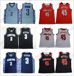 2019 cardenales jerseys negro NCAA 45 Donovan Mitchell Louisville Cardinals rojo blanco Georgetown Hoyas Allen Iverson negro gris cosido College Basketball Jerseys rebajas cardenales jerseys negro